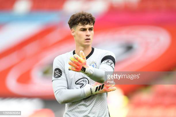 Kepa Arrizabalaga of Chelsea looks on during the Premier League match between Sheffield United and Chelsea FC at Bramall Lane on July 11, 2020 in...