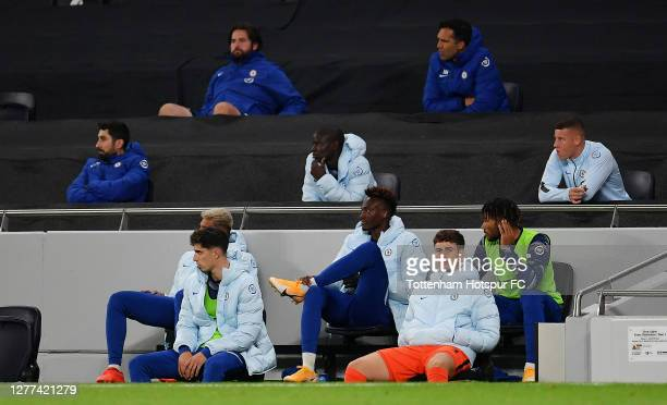 Kepa Arrizabalaga of Chelsea looks on from the bench during the Carabao Cup fourth round match between Tottenham Hotspur and Chelsea at Tottenham...