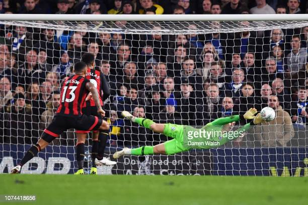 Kepa Arrizabalaga of Chelsea makes a save during the Carabao Cup Quarter Final match between Chelsea and AFC Bournemouth at Stamford Bridge on...