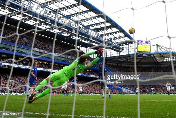 Kepa Arrizabalaga of Chelsea makes a save during the Premier League match between Chelsea FC and Fulham FC at Stamford Bridge on December 2 2018 in...