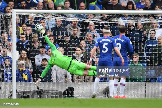 Kepa Arrizabalaga of Chelsea makes a save during the Premier League match between Chelsea FC and Watford FC at Stamford Bridge on May 05 2019 in...