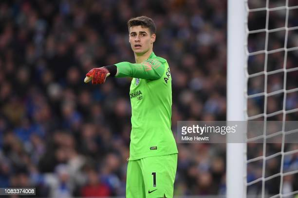 Kepa Arrizabalaga of Chelsea points during the Premier League match between Brighton Hove Albion and Chelsea FC at American Express Community Stadium...