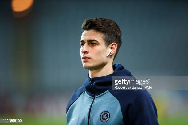 Kepa Arrizabalaga of Chelsea prior to the UEFA Europa League Round of 32 First Leg match between Malmo FF and Chelsea at Malmoe Stadion on February...