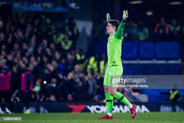 Kepa Arrizabalaga of Chelsea reacs during the Carabao Cup SemiFinal Second Leg match between Chelsea and Tottenham Hotspur at Stamford Bridge on...