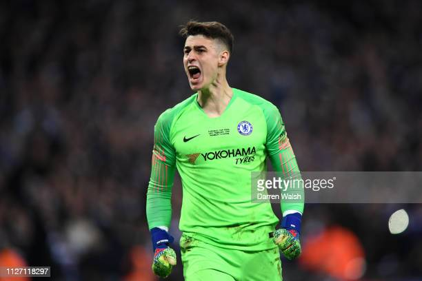 Kepa Arrizabalaga of Chelsea reacts after saving a penalty from Leroy Sane of Manchester City in the penalty shootout during the Carabao Cup Final...