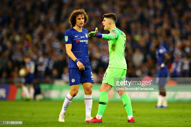 Kepa Arrizabalaga of Chelsea reacts as he is called to be substituted during the Carabao Cup Final between Chelsea and Manchester City at Wembley...