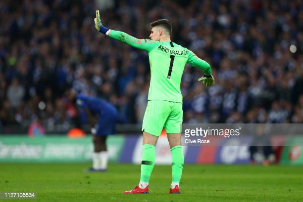 Kepa Arrizabalaga of Chelsea reacts as he refuses to be substituted during the Carabao Cup Final between Chelsea and Manchester City at Wembley...