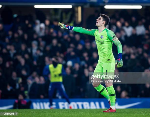 Kepa Arrizabalaga of Chelsea reacts during the Carabao Cup SemiFinal Second Leg match between Chelsea and Tottenham Hotspur at Stamford Bridge on...