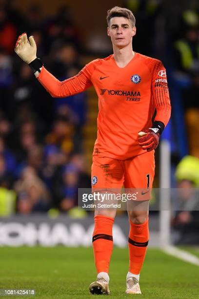 Kepa Arrizabalaga of Chelsea reacts during the Premier League match between Chelsea FC and Newcastle United at Stamford Bridge on January 12 2019 in...