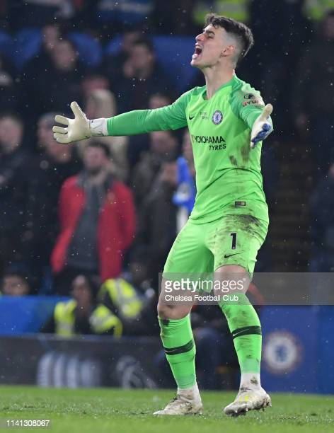 Kepa Arrizabalaga of Chelsea reacts during the Premier League match between Chelsea FC and West Ham United at Stamford Bridge on April 08 2019 in...