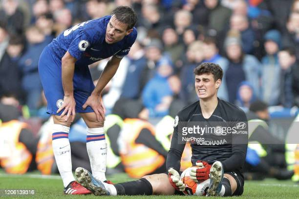 Kepa Arrizabalaga of Chelsea reacts during the Premier League match between Chelsea and Everton at Stamford Bridge, London on Sunday 8th March 2020.