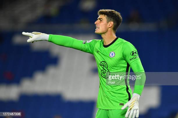 Kepa Arrizabalaga of Chelsea reacts during the Premier League match between Brighton & Hove Albion and Chelsea at American Express Community Stadium...