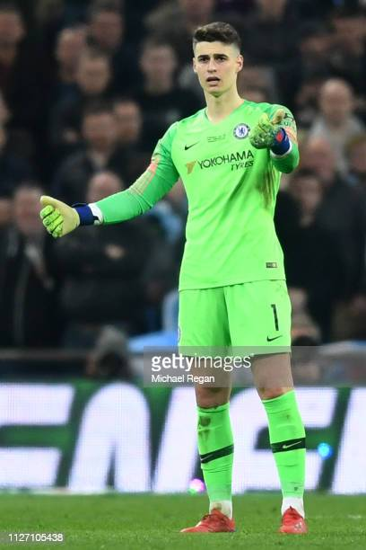 Kepa Arrizabalaga of Chelsea refuses to be substituted during the Carabao Cup Final between Chelsea and Manchester City at Wembley Stadium on...