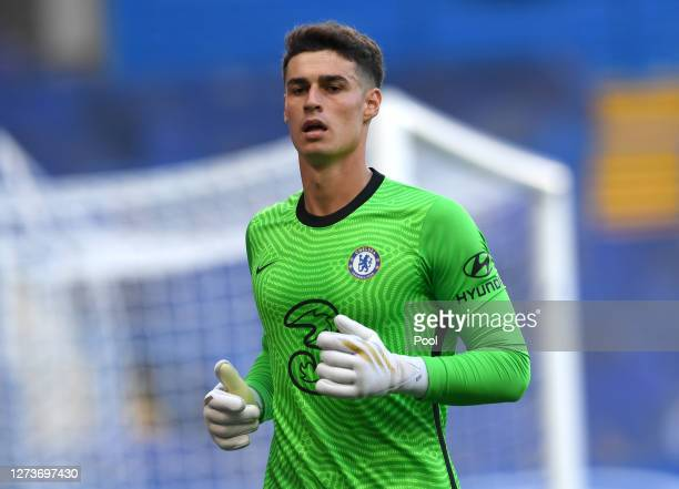 Kepa Arrizabalaga of Chelsea runs on during the Premier League match between Chelsea and Liverpool at Stamford Bridge on September 20, 2020 in...