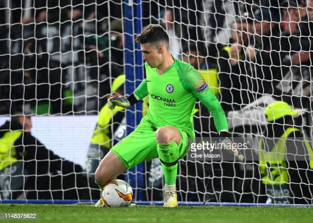Kepa Arrizabalaga of Chelsea save a penalty with his legs during the penalty shootout during the UEFA Europa League Semi Final Second Leg match...