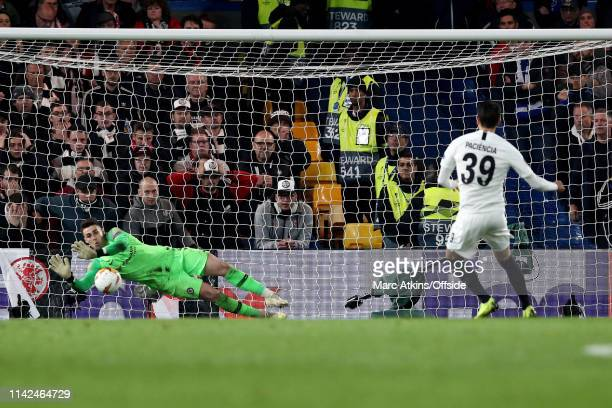 Kepa Arrizabalaga of Chelsea saves a penalty from Goncalo Paciencia of Eintracht Frankfurt during the UEFA Europa League Semi Final Second Leg match...