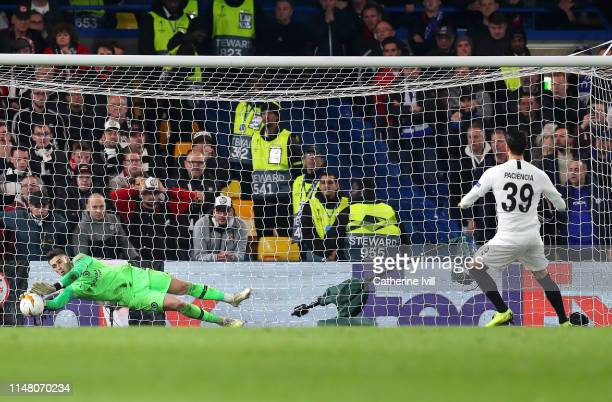Kepa Arrizabalaga of Chelsea saves a penalty from Goncalo Paciencia of Eintracht Frankfurt in the penalty shoot out during the UEFA Europa League...