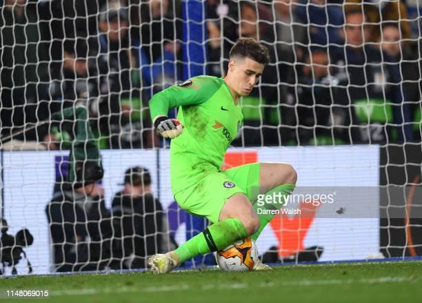 Kepa Arrizabalaga of Chelsea saves a penalty from Martin Hinteregger of Eintracht Frankfurt during the UEFA Europa League Semi Final Second Leg match...