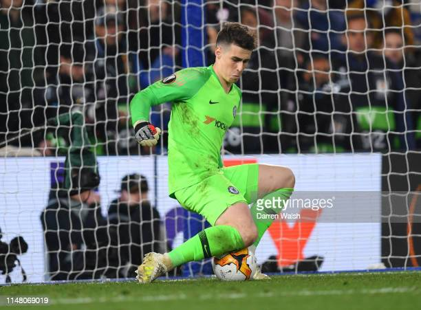Kepa Arrizabalaga of Chelsea saves a penalty from Martin Hinteregger of Eintracht Frankfurt during the UEFA Europa League Semi Final Second Leg match...