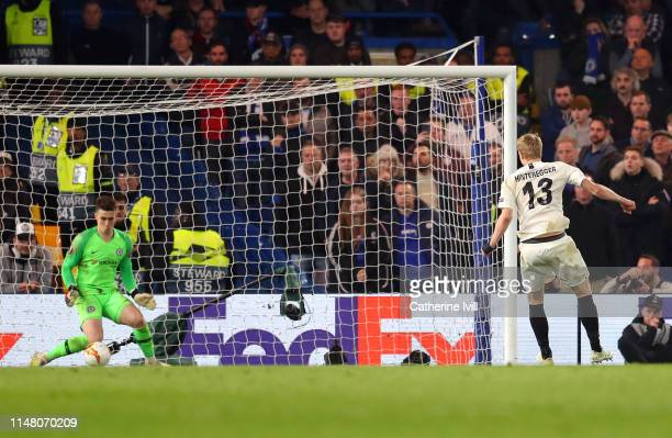 Kepa Arrizabalaga of Chelsea saves a penalty from Martin Hinteregger of Eintracht Frankfurt in the penalty shoot out during the UEFA Europa League...