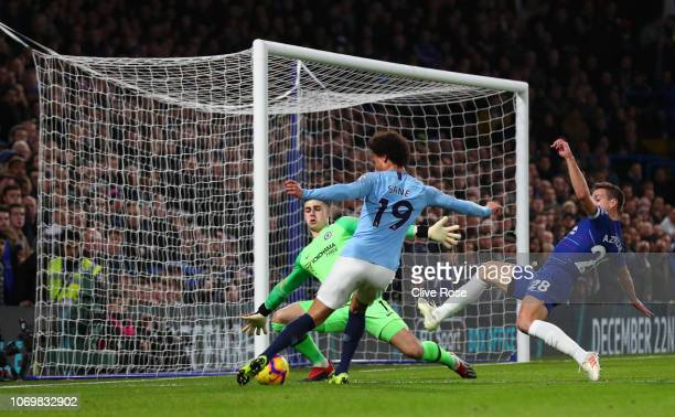 Kepa Arrizabalaga of Chelsea saves a shot from Leroy Sane of Manchester City during the Premier League match between Chelsea FC and Manchester City...