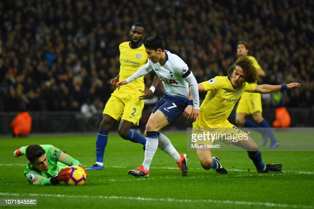 Kepa Arrizabalaga of Chelsea saves from Son HeungMin of Tottenham Hotspur during the Premier League match between Tottenham Hotspur and Chelsea FC at...