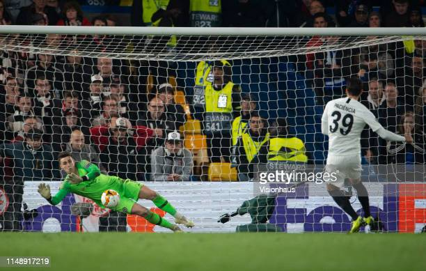 Kepa Arrizabalaga of Chelsea saves the penalty of Gonçalo Paciência of Eintracht Frankfurt during the UEFA Europa League Semi Final Second Leg match...