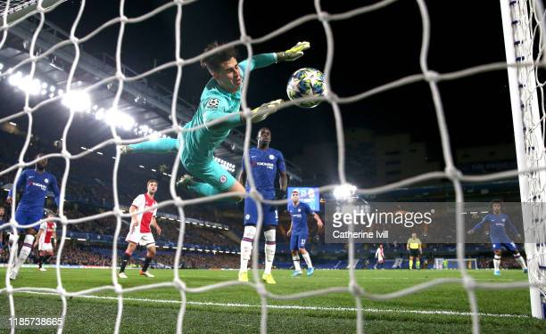 Kepa Arrizabalaga of Chelsea scores an own goal for Ajax's third goal during the UEFA Champions League group H match between Chelsea FC and AFC Ajax...