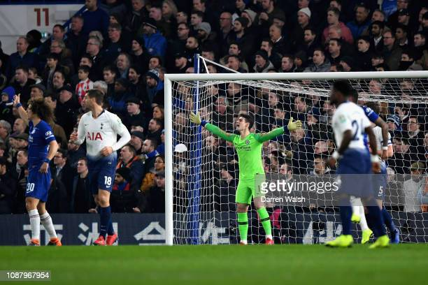 Kepa Arrizabalaga of Chelsea shouts at his team during the Carabao Cup SemiFinal Second Leg match between Chelsea and Tottenham Hotspur at Stamford...