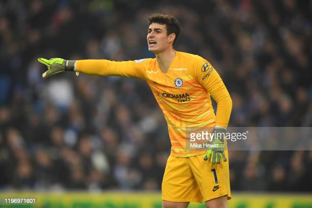 Kepa Arrizabalaga of Chelsea shouts instructions during the Premier League match between Brighton & Hove Albion and Chelsea FC at American Express...