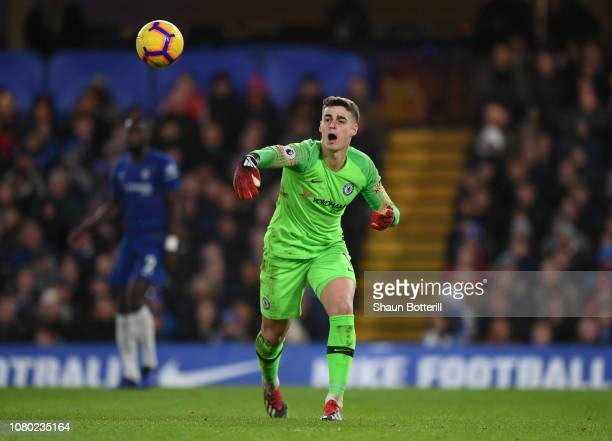 Kepa Arrizabalaga of Chelsea throws the ball during the Premier League match between Chelsea FC and Manchester City at Stamford Bridge on December 08...