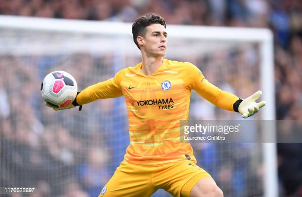 Kepa Arrizabalaga of Chelsea throws the ball during the Premier League match between Chelsea FC and Liverpool FC at Stamford Bridge on September 22...