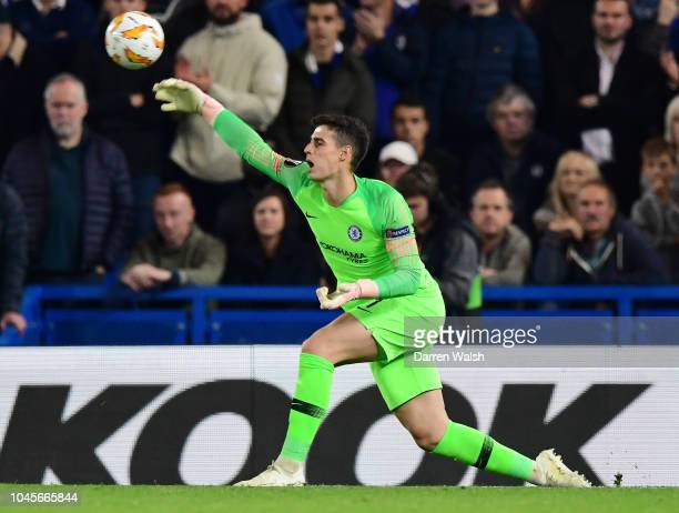 Kepa Arrizabalaga of Chelsea throws the ball during the UEFA Europa League Group L match between Chelsea and Vidi FC at Stamford Bridge on October 4...
