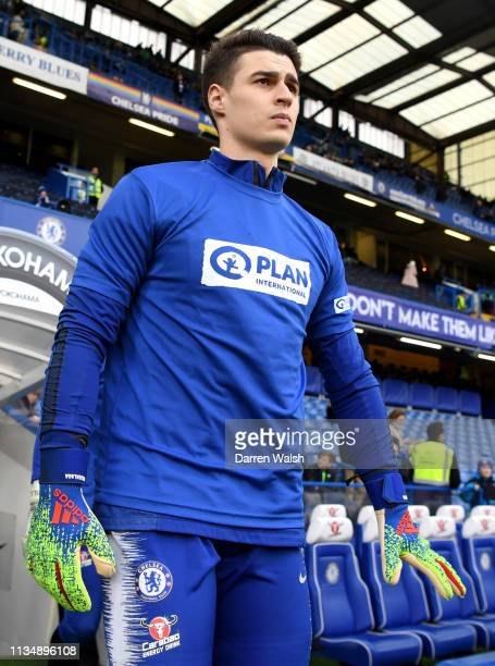 Kepa Arrizabalaga of Chelsea walks onto the pitch prior to the Premier League match between Chelsea FC and Wolverhampton Wanderers at Stamford Bridge...