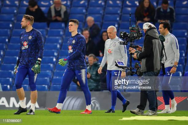 Kepa Arrizabalaga of Chelsea walks out ahead of the Premier League match between Chelsea FC and Tottenham Hotspur at Stamford Bridge on February 27...