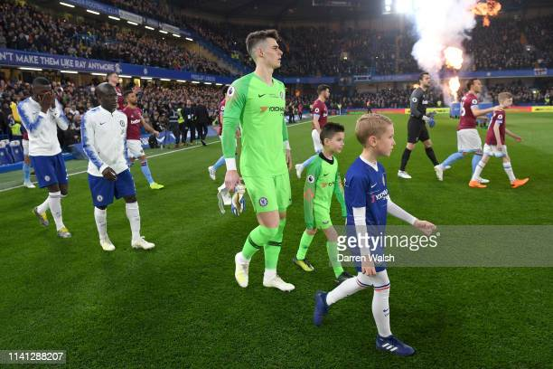 Kepa Arrizabalaga of Chelsea walks out prior to the Premier League match between Chelsea FC and West Ham United at Stamford Bridge on April 08 2019...