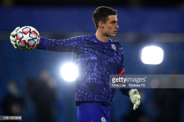 Kepa Arrizabalaga of Chelsea warming up during the UEFA Champions League Group E stage match between Chelsea FC and FC Sevilla at Stamford Bridge on...