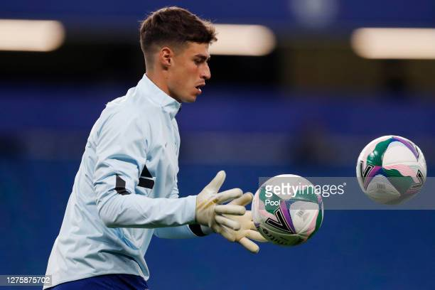 Kepa Arrizabalaga of Chelsea warms up ahead of the Carabao Cup third round match between Chelsea and Barnsley at Stamford Bridge on September 23 2020...