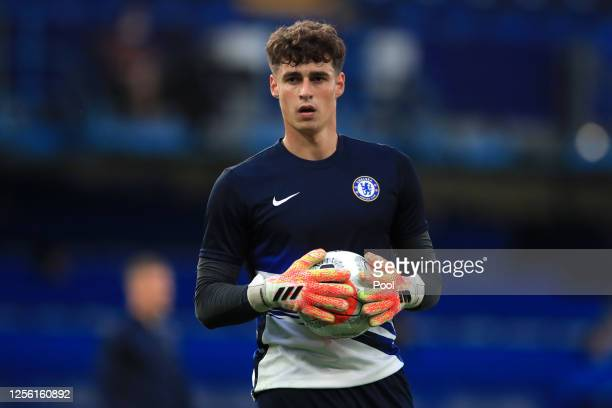Kepa Arrizabalaga of Chelsea warms up ahead of the Premier League match between Chelsea FC and Norwich City at Stamford Bridge on July 14, 2020 in...