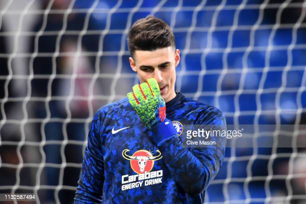Kepa Arrizabalaga of Chelsea warms up prior to the Premier League match between Chelsea FC and Tottenham Hotspur at Stamford Bridge on February 27,...