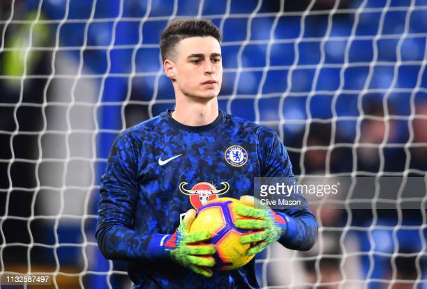 Kepa Arrizabalaga of Chelsea warms up prior to the Premier League match between Chelsea FC and Tottenham Hotspur at Stamford Bridge on February 27...