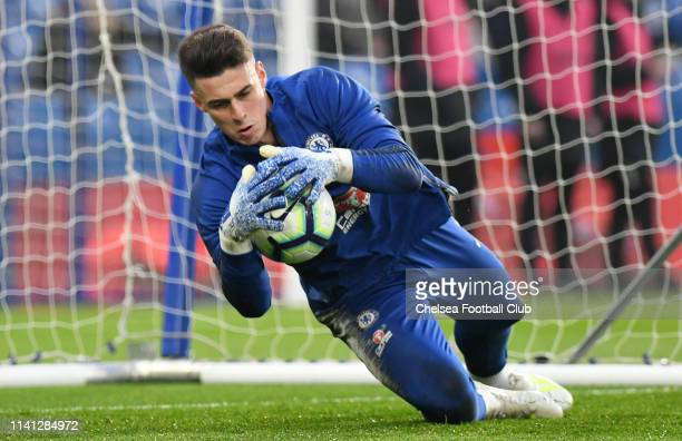 Kepa Arrizabalaga of Chelsea warms up prior to the Premier League match between Chelsea FC and West Ham United at Stamford Bridge on April 08 2019 in...