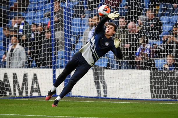 Kepa Arrizabalaga of Chelsea warms up prior to the Premier League match between Chelsea FC and Everton FC at Stamford Bridge on March 08 2020 in...