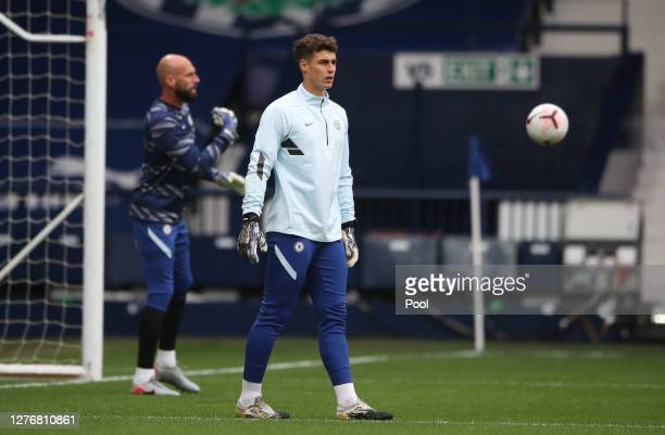 Kepa Arrizabalaga of Chelsea warms up prior to the Premier League match between West Bromwich Albion and Chelsea at The Hawthorns on September 26...