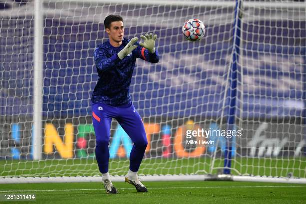 Kepa Arrizabalaga of Chelsea warms up prior to the UEFA Champions League Group E stage match between Chelsea FC and FC Sevilla at Stamford Bridge on...