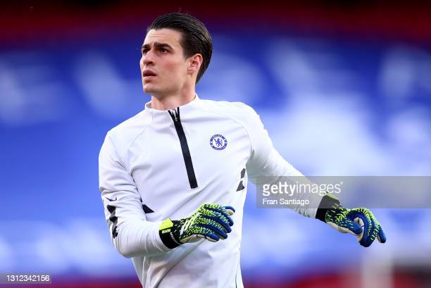 Kepa Arrizabalaga of Chelsea warms up prior to the UEFA Champions League Quarter Final Second Leg match between Chelsea FC and FC Porto at Estadio...