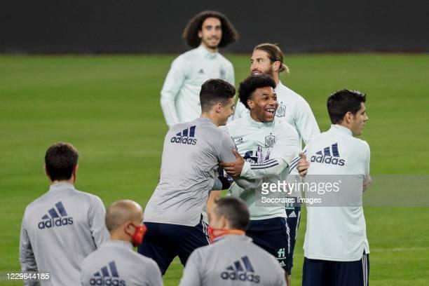 Kepa Arrizabalaga of Spain Adama Traore of Spain Sergio Ramos of Spain during the Training Spain on November 16 2020