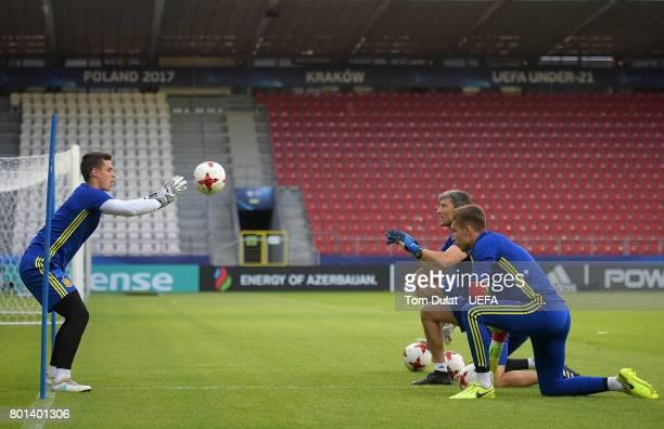Kepa Arrizabalaga of Spain during a training session on June 26 2017 in Krakow Poland