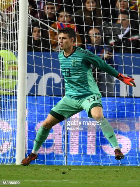 Kepa Arrizabalaga of Spain in action during the international friendly match between Spain and Costa Rica at La Rosaleda Stadium on November 11 2017...