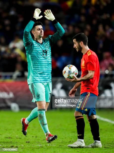 Kepa Arrizabalaga of Spain Jose Gaya of Spain during the UEFA Nations league match between Spain v Bosnia and Herzegovina at the Estadio de Gran...